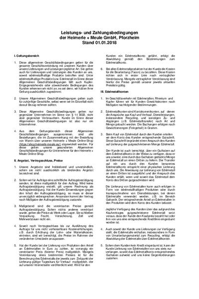 Leistungs Und Zahlungsbedingungen Der Heimerle Meule Gmbh
